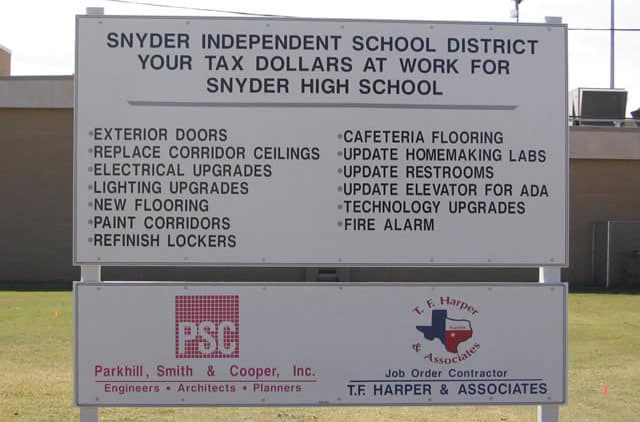 Snyder ISD project sign
