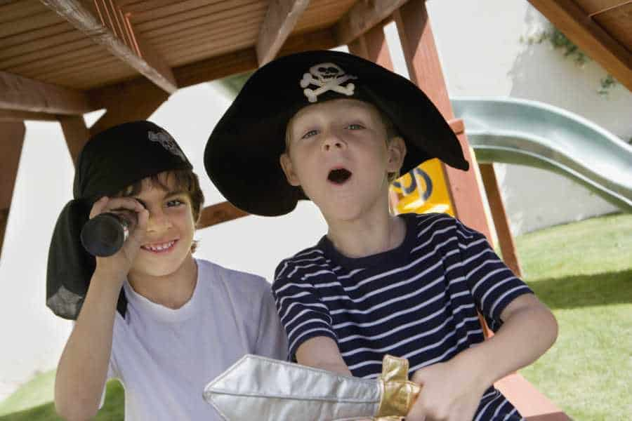 Children dressed up as pirates at a themed playground