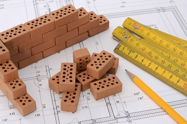Measurement and planning materials on building blueprints