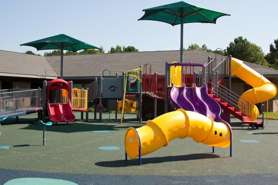 Example of a school playground equipment installation in Austin TX