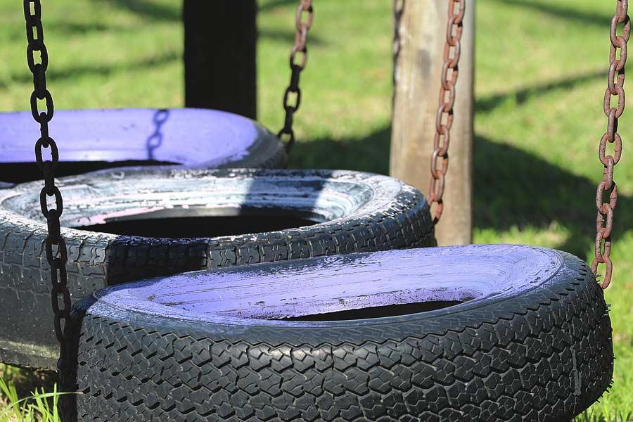 3 tire swings side by side